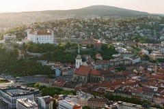 Bratislava castle at dusk, Slovakia Stock Photos