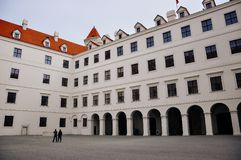 A inside view of Bratislava Castle, Bratislava, Slovakia. Bratislava Castle, the landmark overlooking the capital, was built in 9th century. It stands on the royalty free stock photo