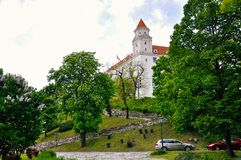 A view of Bratislava Castle, Bratislava, Slovakia. Bratislava Castle, the landmark overlooking the capital, was built in 9th century. It stands on the hill royalty free stock photography