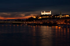 Bratislava castle at night Royalty Free Stock Images