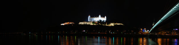 Bratislava castle at night Stock Images