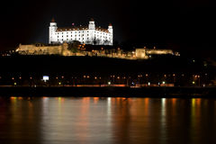 Bratislava castle at night Royalty Free Stock Photography