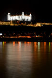 Bratislava castle at night. View from Petrzalka district stock image
