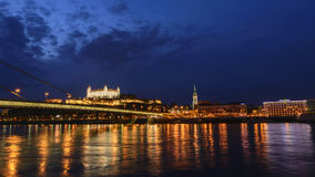Bratislava Castle at night. Danube river Royalty Free Stock Photos
