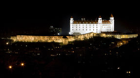Bratislava castle in night after reconstruction Royalty Free Stock Images