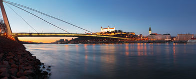 Bratislava castle and novy bridge Royalty Free Stock Photography
