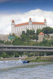Bratislava castle over Danube Stock Photos