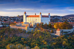 Bratislava castle over Danube river at sunset,Bratislava,Slovakia Royalty Free Stock Photos