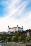 Bratislava Castle over Danube River waterfront Royalty Free Stock Image