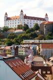 Bratislava castle over old city Stock Image