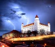Bratislava castle from parliament at twilight - Slovakia Stock Photography
