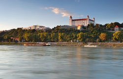 Bratislava castle and river Danube Royalty Free Stock Photos