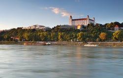 Bratislava castle and river Danube Royalty Free Stock Photos