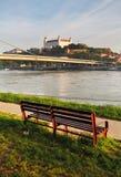 Bratislava castle and river Danube Stock Image