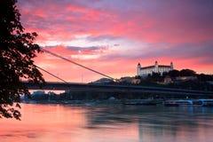 Bratislava castle and river Danube. Stock Photography