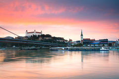 Bratislava castle and river Danube. Royalty Free Stock Photos