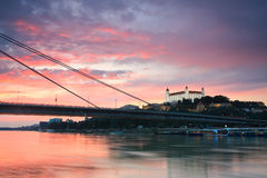 Bratislava castle and river Danube. Stock Photo