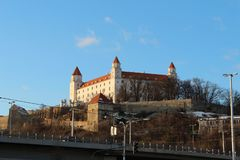 Bratislava castle from river side royalty free stock photo