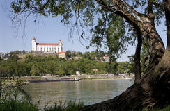 Bratislava - castle from riverside Royalty Free Stock Photos