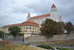 Bratislava castle, Slovakia. Four towers castle in Bratislava, capital city of Slovakia. Fresh after reconstruction royalty free stock images