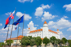 Bratislava castle, Slovakia. Bratislava castle is the main castle of Bratislava, the capital of Slovakia. The building with 4 corner towers stands on an isolated Royalty Free Stock Photos
