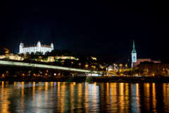 Bratislava castle and St. Martin`s Cathedral stock image