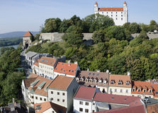 The Bratislava castle with streets of old town Stock Photos