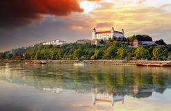 Bratislava castle at sunset, Slovakia stock photo