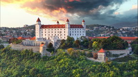 Bratislava castle at sunset - Time lapse stock video footage