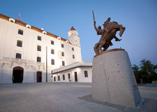 Bratislava castle with Svatopluk statue Royalty Free Stock Photography