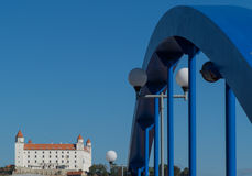 Bratislava Castle view with bicycle & walking bridge Royalty Free Stock Photos