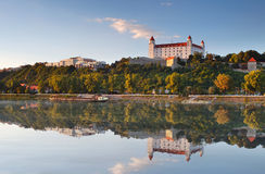 Bratislava Castle With Reflection In River Danube Royalty Free Stock Photos