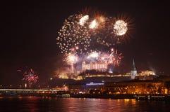 Bratislava celebra il buon anno Fotografie Stock Libere da Diritti