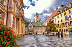 Bratislava city council. Walking near old historical buildings in the centre of Bratislava Stock Images
