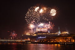 Bratislava comemora o ano novo feliz Fotos de Stock Royalty Free