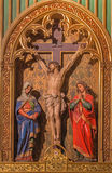 Bratislava - Crucifixion scene. Carved sculptures  in st. Martin cathedral. Stock Image
