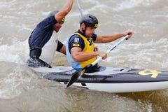 Bratislava - Cunovo, Eslovaquia - th 2010 del 13-15 de agosto: Campeonatos europeos 2010 del eslalom de la canoa del ECA imagen de archivo