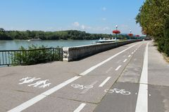 Bratislava cycling path Royalty Free Stock Image