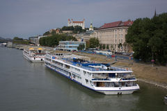 Bratislava from the Danube. Nice view of the town from the pedestrian bridge Royalty Free Stock Images