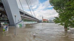 Bratislava - Danubio all'alta inondazione da più alta acqua misurata e dal ponte di SNP su fondo Fotografia Stock Libera da Diritti