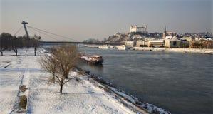 Bratislava in de winter Stock Foto