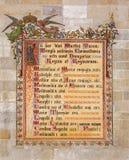 Bratislava - Decoratieve die fresko met de namen van koningen in Bratislava tussen jaren 1563 worden bekroond - 1830 in st. Martin Royalty-vrije Stock Fotografie
