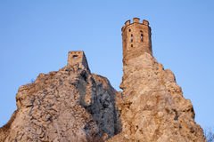 Bratislava - Devin ruins in sunset light. Stock Image