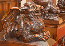 Bratislava - Dragon carved sculpture from bench in presbytery in st. Matins cathedral Stock Photography