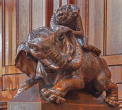 Bratislava - Elephant symbolic carved sculpture from bench in presbytery in st. Matins cathedral Royalty Free Stock Photos