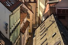Bratislava. Elevated view of red rooftops and facades in old cit Royalty Free Stock Photography