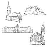 Bratislava, Eslováquia, construções famosas ilustração royalty free