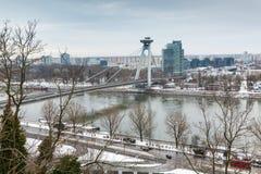 Bratislava, Eslováquia - 24 de janeiro de 2016: Vista do rio Dan Foto de Stock Royalty Free