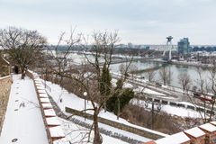 Bratislava, Eslováquia - 24 de janeiro de 2016: Vista do rio Dan Imagens de Stock Royalty Free