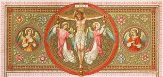 BRATISLAVA, ESLOVÁQUIA, NOVEMBRO - 21, 2016: A litografia da crucificação em Missale Romanum por artista desconhecido Imagem de Stock Royalty Free